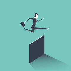 Businessman jumping over obstacle. vector
