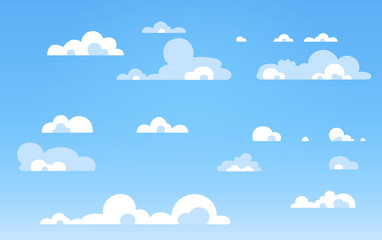 Сartoon иlue sky with clouds on the shiny day. Silhouette of white fluffy clouds isolated on blue background. Vector set