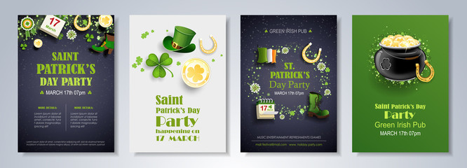 St. Patrick's Day vector set of flyer and brochure design templates