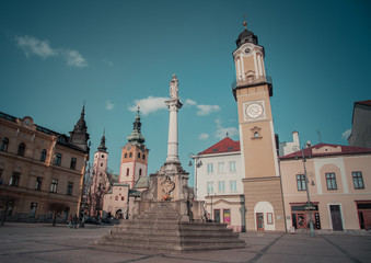 A Horizontal color image of Banska Bystrica Old Town, Main Square and Clock Tower. Captured Banska Bystrica, Slovakia