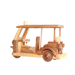 Tuk Tuk wooden toy model isolated on white background