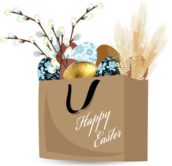 Easter eggs in a paper bag