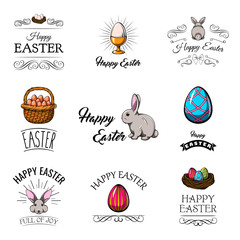Big Collection of Happy Easter Objects. Flat Design Vector Illustration.