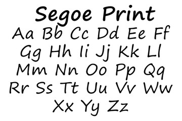 Segoe print font alphabet