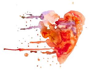 cuore schizzi acquerello sfondo bianco