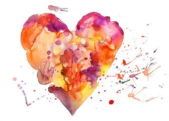 acquerello cuore bello schizzi