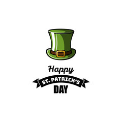 St Patrick s Day element. Green leprechaun hat. Vector illustration.