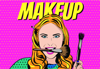 Beautiful pop art girl holding brushes in her teeth for make-up. Makeup. A vintage girl puts on makeup.