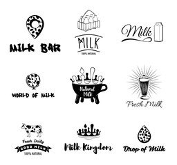 Cow s milk labels, emblems, icons and design elements. Fresh milk. Vector.