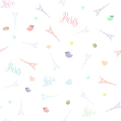 Gift wrapping paper seamless pattern with Eiffel tower, cute birds and hearts, Paris life children vector illustration background