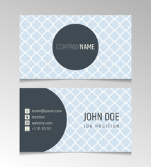 Simple light blue business card template with geometric pattern. Vector illustration.