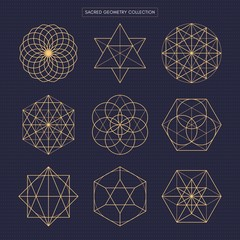 Sacred geometry. Original outline vector (non expanded outline). Dark theme background.