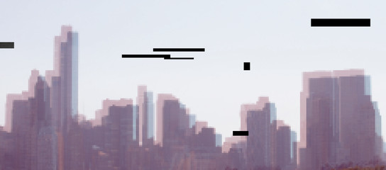 New York cityscape, Manhattan - view from Central Park. Vector  NYC  Trendy Glitch effect background.