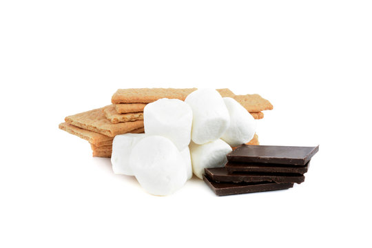 S'mores ingredients , chocolate, graham crakers,marshmallows isolated on white background