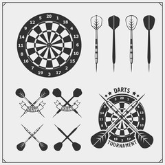 Set of Darts club or sport competition emblems, labels and design elements.