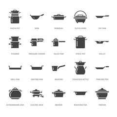Pot, pan and steamer glyph icons. Restaurant professional equipment signs. Kitchen utensil - wok, saucepan, eathernware dish. Silhouette signs for commercial cooking store. Pixel perfect 64x64.