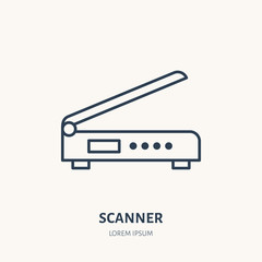 Scanner flat line icon. Office scanning device sign. Thin linear logo for printery, equipment store.