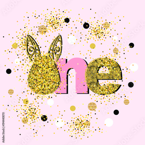 vector illustration golden one with bunny ears template for baby