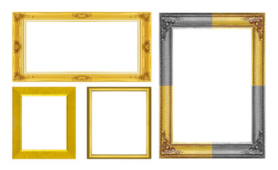 Set golden frame isolated on white background.