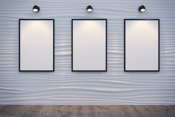 Decorative wall with the white canvas