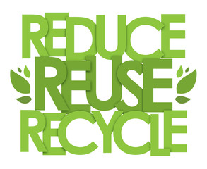 REDUCE REUSE RECYCLE typography poster
