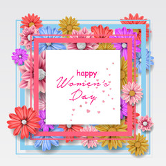 Women day background. 8 march women's day greeting card. Happy Womens Day.  Card for 8 March women's day. Abstract background with flower. Vector illustration.