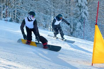 Snowboard racing slalom