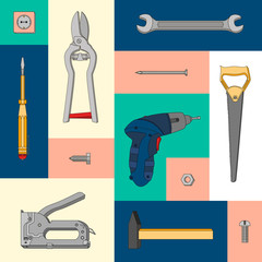 Vector set of repair tools. Illustration