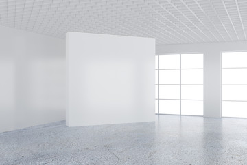 Empty white billboard in a big bright room. 3D rendering.