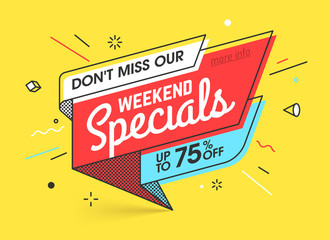 Weekend specials, sale banner template in flat trendy memphis geometric style, retro 80s - 90s paper style poster, placard, web banner designs Fototapete
