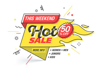 Hot sale, weekend special offer banner template in flat trendy memphis geometric style, retro 80s - 90s paper style poster, placard, web banner designs