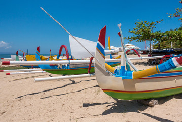 Traditional colorful fishing boats on the beach on Bali, Indonesia