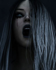 3d illustration of screaming ghost  woman in the dark,Horror background
