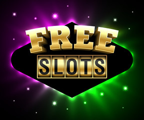 Free Slots banner, online gambling casino games poster with slot machine and text Free Slots