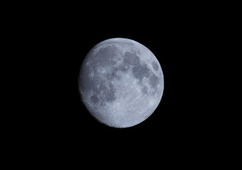 Close up of the moon taken at night with a long lens
