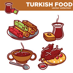Turkish food vector collection of tasty exotic dishes