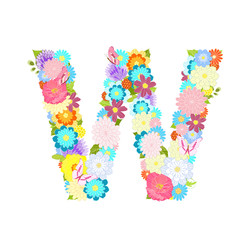 Romantic letter of meadow flowers and butterflies W