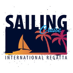 Yacht club and sailing sport. Sea travel. Vector illustration