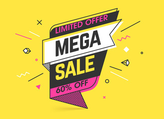 Mega sale, limited special offer banner template in flat trendy memphis geometric style, retro 80s - 90s paper style poster, placard, web banner designs Wall mural