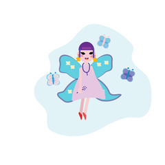 Smiling fairy with magic wings. Cartoon girl character sitting on swing. Pixie in little orange dress. Magical creature from fairy tale. Colorful flat vector design