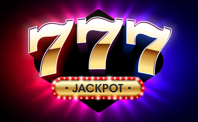 777, lucky sevens jackpot, big win jackpot with triple lucky sevens on bright background, gambling casino games banner