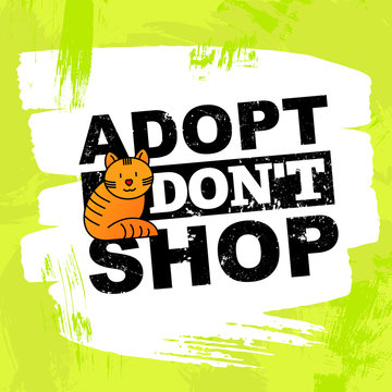 Pet adoption concept: adopt, don't shop. Thin line icon of red cat. Modern vector illustration on bright background.