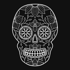 Day of The Dead colorful Skull with floral ornament. Mexican sugar skull. Vector illustration