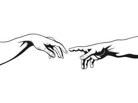 Adam and God hands. Vector illustration
