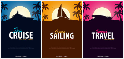 Set of Yacht club and sailing sport Poster. Sea travel. Vector illustration