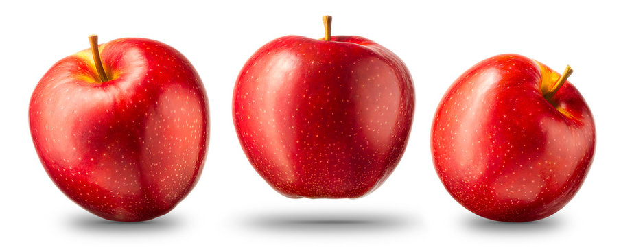 Collection of red apple isolated on white background with shiny reflections