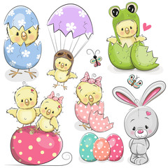 Easter set with cute Chicken