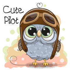 Cute Owl in a pilot hat