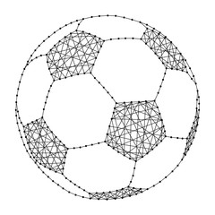 football from polygonal black lines and dots of vector illustration