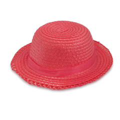 Red hat on a white background. Pretty straw hat.